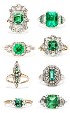 Emerald Engagement Rings #antique #vintage #diamond #rings #artdeco