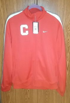 Nike Mens Large Sewn Logo C Training  Red Full Zip Long Sleeve Warm up #Nike #jacket