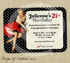 Retro Pinup Girl Invitation - Customizable Wordings - Print-your-own via Etsy -- such a cute idea!