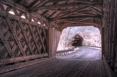 Hartland, Vermont, USA / The bridge in the background is the original Willard Covered Bridge. It was built in 1870. In 2001 when the nearby concrete bridge had to be replaced they chose to build a twin. The new bridge was built with the same design