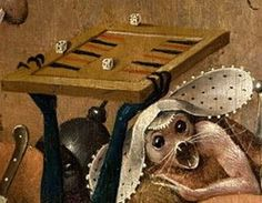 What's this? I don't mean the creatures. I mean, is that a backgammon board? (Hieronymus Bosch, The garden of earthly delights, Hell panel detail)