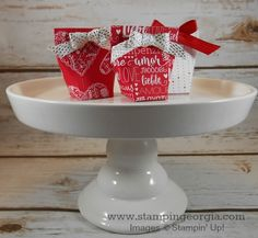 Need a quick and easy treat idea for Valentines (or any occasion, really)?  Check out this 1-2-3-4 Mini Treat Box!  Video tutorial on my blog post . . . www.stampingeorgia.com