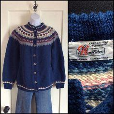 Wool Norwegian Fair Isle cardigan Sweater by SisterSidVintage
