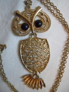 Vintage Sarah Coventry Owl Pendant Jewelry