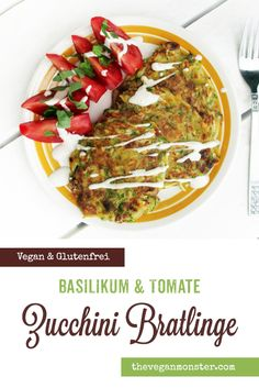 Zucchini Fritters, Tomato Basil, Monster, Vegan Gluten Free, Food And Drink, Beef, Easy, Recipes, Gluten Free Vegan