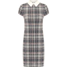 WearAll Tartan Short Sleeve Mini Dress (€25) ❤ liked on Polyvore featuring dresses, grey, short grey dress, plaid dress, short dresses, short sleeve mini dress and grey dresses
