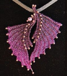 pink wire weaving pendant by Marilyn Moore, photo by Kara Saxby  - from Wire Jewelry Making: Explore Basket Weaving Techniques with Wire Jewelry Artists - Jewelry Making Daily