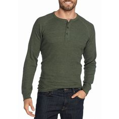 Red Camel Olive Heather Long Sleeve Thermal Henley Shirt ($14) ❤ liked on Polyvore featuring men's fashion, men's clothing, men's shirts, men's casual shirts, olive heather, mens long sleeve casual shirts, mens henley shirts, mens long sleeve henley shirts, mens thermal long sleeve shirts and mens long sleeve shirts