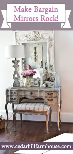 Antique a Mirror with Annie Sloan chalk paint in old white, then dry brush with Paris Gray, then cover with clear wax, then use Fiddes Antique Brown wax