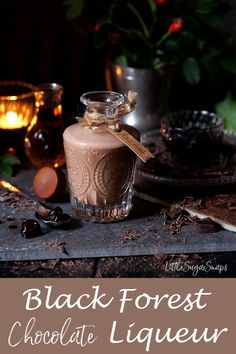 Homemade Black Forest Chocolate Liqueur is the ultimate winter tipple. It is easy to make & tastes decadent, rich, creamy & chocolatey, with a hint of cherries. Homemade Liqueur Recipes, Homemade Alcohol, Homemade Liquor, Kahlua Recipes, Triple Sec, Drinks Alcohol Recipes, Yummy Drinks, Drink Recipes, Mojito
