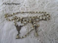 Antique rosary Mother of pearl 1900 by Nkempantiques on Etsy