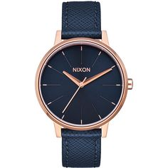Womens Nixon Kensington Leather Watch Gold Leather ($150) ❤ liked on Polyvore featuring jewelry, watches, analog watches, gold, womens watches, yellow gold watches, water proof watches, analog wrist watch and navy blue jewelry