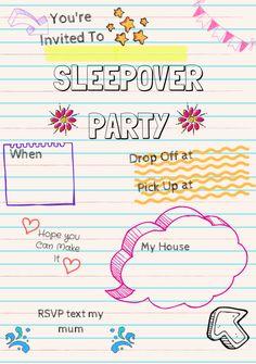 Sleepover Invite Wonder Kids