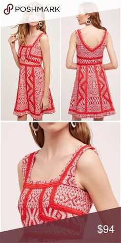 "❤️ NWT! ANTHRO MAEVE 'EMMA' DRESS - SIZE 6/8P Adorable NWT dress by Maeve from Anthropologie with white geometric print on a red background and lace overlay detailing. Incredibly flattering fit-and-flare silhouette with a side zipper. Perfect for many types of occasions: Valentine's Day date, wedding, cocktail, or even pair it with a cardigan for work! Size 8P, but runs small - could fit a size 6P. Approx 33"" long, 17"" underarm to underarm, and 14"" at the waist - measured laying flat. Brand…"