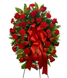 Standing red roses wreath