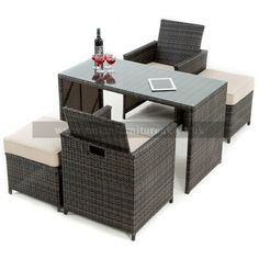 This great little garden cube set by zebrano rattan is perfect for the balcony or small patio area in your garden. It can be left outdoors all year round and the seat backs fold down and all the chairs and footstools fits neatley underneath. Its neat and Rattan Outdoor Furniture, Balcony Furniture, Patio Set Up, Small Patio, Outdoor Bar Table, Outdoor Dining Chairs, Patio Design, Exterior Design, Backyard Patio