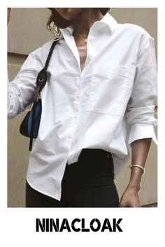 # Cotton Mix # Loose # Fall/Autumn / Winter / Spring # Casual # Button-down Collar # Placket # Print # Long Sleeve # White # Solid color #