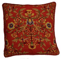 Old Roses Needlepoint Toss Pillow