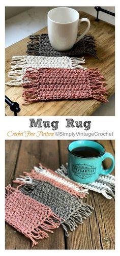 Blog Crochet, Crochet Gratis, Crochet Home, Knit Crochet, Crochet Ideas, Knitted Rug, Diy Crochet Patterns, Mug Rug Patterns, Easy Knitting Patterns