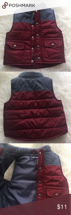 Boys Cherokee Vest 18 months Like new only used once. Its in gorgeous condition, my son outgrew everything fast! Really cute grey and burgundy color. Size 18 months. From Cherokee. Any questions feel free to ask. Thanks for stopping by 😘 Cherokee Jackets & Coats Vests