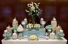If you need some inspiration for your next party and want to build a candy buffet, we have some for you. The Candy Buffet Company creates amazing art. Tiffany Theme, Tiffany Party, Tiffany Blue, Tiffany Wedding, Candy Buffet Tables, Candy Table, Dessert Tables, Elegant Candy Buffet, Food Tables