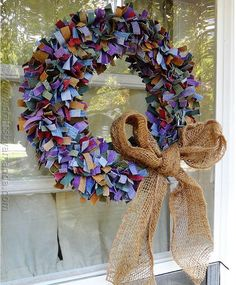 Scrappy Colored Denim DIY Wreath | AllFreeChristmasCrafts.com