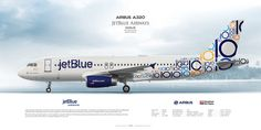 Airbus A320 JetBlue AirwaysN569JB | Highly Detailed Profile Prints | www.aviaposter.com | #airliners #aviation #jetliner #airplane #pilot #aviationlovers #avgeek #jet #sideplane #airport #jetblue #a320