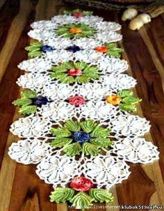 crochelinhasagulhas: Caminho de mesa colorido em crochê graphic