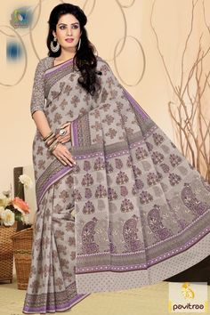 Traditional grey color festival special cotton saree online shopping for upcoming Indian festivals and puja. Buy online this eyeful pure cotton made saree now #saree, #casualsaree more: http://www.pavitraa.in/store/casual-saree/