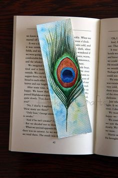 Gorgeous, Unique Handmade Watercolor Bookmarks To Make and To Buy - My beautiful Lilly flower - Watercolor Peacock, Peacock Painting, Kids Watercolor, Watercolor Cards, Creative Bookmarks, Diy Bookmarks, How To Make Bookmarks, Bookmark Craft, Watercolor Bookmarks