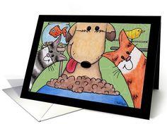 Happy Birthday Pet Sitter-Dog, Cat, Fish and Bird card