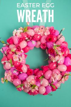 Learn how to make this simple floral Easter egg wreath with Haeley from @designimprovise. This elegant wreath would look fabulous on a door or mantle this spring season.