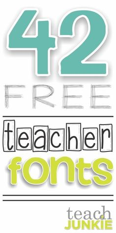 Fonts play a big role in creating classroom worksheets, activities and many teachers love making their own! Here are 42 free fonts that were created by teachers and will help make your classroom activities bright, whimsical and add just the right touch. Professor, Teacher Organization, Teacher Hacks, Teacher Pay Teachers, Teacher Stuff, Teaching Tools, Teacher Resources, Teacher Fonts Free, Free Clipart For Teachers