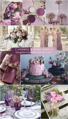 violet and dusty rose wedding color ideas Lavender Wedding Colors, Unique Wedding Colors, Purple Wedding, Lavender Ideas, Trendy Wedding, Diy Wedding Decorations, Wedding Themes, Decor Wedding, Wedding Bouquets