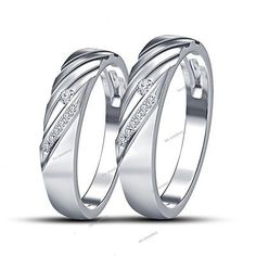 Couples Ring Set 925 Silver Round D/VVS1 LabDiamond Wedding Band White Gold Over