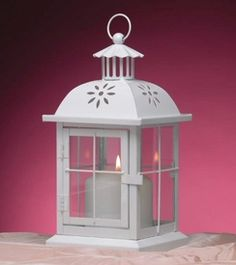 White Patio Metal Candle Lanterns Candle Holders, Set Of 12