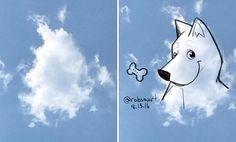Ilustrador aproveita nuvens para criar desenhos fantásticos