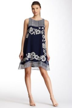 Max Studio Sleeveless Scarf Print Shift Dress by Max Studio on @HauteLook