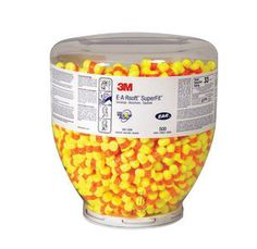 3M Single Use Classic SuperFit 30 Cylinder Shape PVC Foam Uncorded Earplugs (500 Pair Per One Touch Refill Bottle)