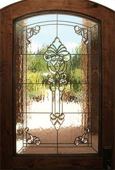 leaded glass window in door