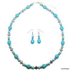 Turquoise Necklace Turquoise Earrings Turquoise by ZaverDesigns