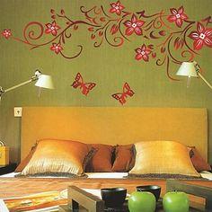muurstickers muur stickers, romantische vlinders over bloemen pvc muurstickers – EUR € 9.69