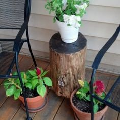 Custom Stump Side Table! Learn how to create a side table for free. Just take a walk in the woods