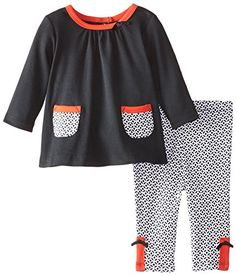 Offspring  Baby Apparel BabyGirls Newborn Ditzy Tunic and Legging Set BlackMulti 6 Months *** Details can be found by clicking on the image.