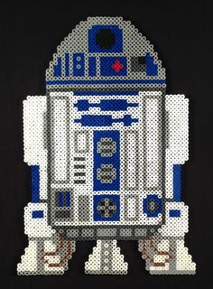 "Star Wars R2D2 Portrait perler beads (approximately 3000 beads and 9"" wide by 13"" inches tall) by FourthDesigns"