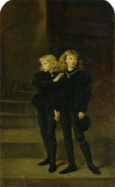 The Princes in the Tower (Edward V of London & Richard of Shrewsbury, Duke of York) (Tower of London, dissappearance of the princes after the death of their father, under reign of their uncle)  by Sir John Everett Millais, 1483.