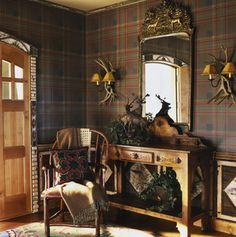 Plaid walls.  VERY English country manor.
