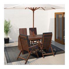 ÄPPLARÖ Table + 4 reclining chairs, outdoor - Äpplarö brown stained/Ekerön black - IKEA