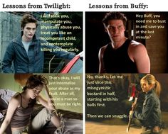 Twilight versus Buffy-verse in terms of how the heroines of the media are treated.
