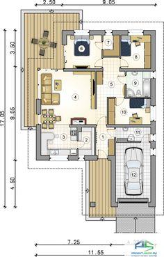 Проект D33 - примеры, отзывы, планировка, характеристики, состав. My House Plans, Modern House Plans, Bungalow House Design, Modern House Design, Building Design, Building A House, 2 Bedroom House, Garage House, Atrium
